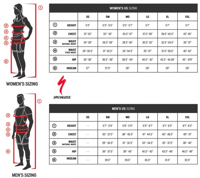 Геометрия велосипеда Specialized Authentic TEAM Winter BIB Tight 2013